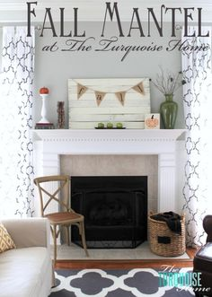 Planked Pallet Fall Mantel | The Turquoise Home