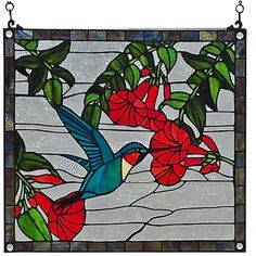 Tiffany Style Hummingbird Design Stained Glass Window Panel