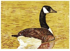 Canada Goose, 3 Color Linocut Relief Print, Bird, Hand Pulled Fine Art, Limited Edition, Printmaking Original by LindaCoteStudio on Etsy https://www.etsy.com/listing/247761935/canada-goose-3-color-linocut-relief