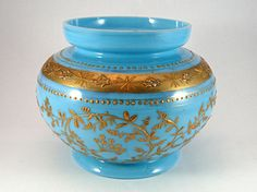 341) Fine and attractive antique c.1910 opaline blue glass vase with gilt foliate decoration 12cmms tall Est. £25-£35