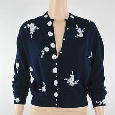 Vintage 50s 60s Hand Beaded Navy Blue Angora Cardigan Sweater
