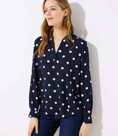LOFT Petite Dotted Collar Split Neck Blouse in forever navy blue and white Peplum Blouse, Collar Blouse, Workwear Fashion, Fashion Models, Women's Fashion, Brownies, Family Photo Outfits, Work Casual, Asian Fashion