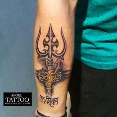 trishul tattoo done by our tattoo artist satty at angel tattoo design studio in gurgaon, tripund tattoo, om tattoo, negative shading tattoo, lord shiva tattoo Geometric Wolf Tattoo, Geometric Tattoos Men, Type Tattoo, Lotus Tattoo, Bholenath Tattoo, Anklet Tattoos, Arm Tattoos, Sleeve Tattoos, Tatoos