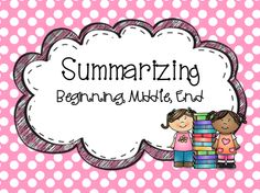 Summarizing Pack from allaboutelementary on TeachersNotebook.com -  (16 pages)  - This pack is a great way to introduce or review summarizing!