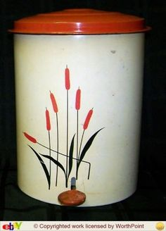 Rare Flip Top Cattail Trash Can with Liner - Universal Cambridge