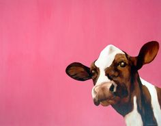 Like this John Marshall piece he's based at Two Kats and a Cow gallery in Brighton, UK Cow Painting, Painting & Drawing, John Marshall, Pink Cow, Drawing Sketches, Drawings, Cow Art, Cult Following, Illustration Art
