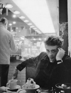 James Dean alone in a coffee shop