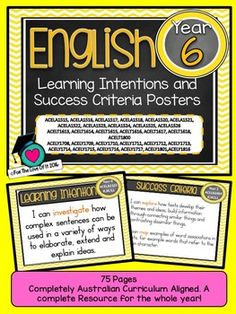 GRADE 6 All English Learning INTENTIONS & Success Criteria! Compatible with…
