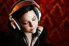 Amy Lee from Evanescence wearing headphones