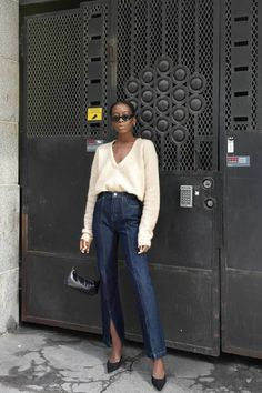 7 Sweater-and–Skinny Jeans Combinations I Fully Plan on Copying : sweater outfits for winter Outfit Jeans, Sweater Outfits, Jean Outfits, Work Outfits, Casual Outfits, Sandro, Winter Skinny Jeans Outfits, Baguette, Pullover Outfit
