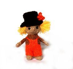 $33.64 crochet SCARECROW, miniature scarecrow doll, amigurumi scarecrow, cute #scarecrow plushie, stuffed scarecrow, great gift for #Halloween, #handmade gift by crochAndi