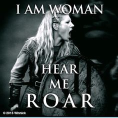 Lagertha (Katheryn Winnick) on Vikings war cry