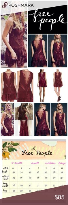 """Free People Eyelash Lace Trim Mini Dress.  NWT. Free People (Black Label) Black Dove Rich Berry Eyelash Lace Trim Mini Dress, polyester, nylon, 16"""" armpit to armpit (32"""" all around), 33"""" dropped waist, 33"""" length, 12"""" long armhole, round neck with scalloped V illusion neckline and back, sheer mesh and lace panels at front and back, tiered ruffled skirt dotted with mesh and lace, concealed side zip, partially lined, uneven raw hem, measurements are approx.  NO TRADES Free People Dresses Mini"""