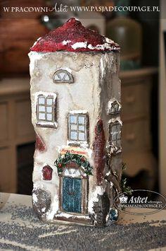 Decoupage 3 D na cegle malowana ręcznie dekoracja świąteczna