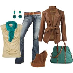 With my brown corduroy jacket - teal top - cream/brown striped scarf