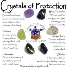Crystals for Protection (Amethyst, Prehnite, Labradorite, Tourmaline, Smoky Quartz and Obsidian) Crystal Healing Chart, Crystal Guide, Crystal Magic, Amethyst Crystal, Healing Crystals, Crystal Wall, Crystal Uses, Chakra Crystals, Crystals And Gemstones