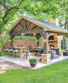 26 Beautiful Outdoor Kitchen With Pergola. If you are looking for Outdoor Kitchen With Pergola, You come to the right place. Here are the Outdoor Kitchen With Pergola. This post about Outdoor Kitchen. Backyard Pavilion, Backyard Patio Designs, Modern Backyard, Pergola Patio, Backyard Landscaping, Patio Ideas, Landscaping Ideas, Backyard Gazebo, Backyard Seating