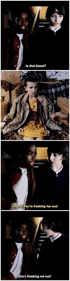 """Is that blood?"" - Luke, Mike, and Eleven #StrangerThings"