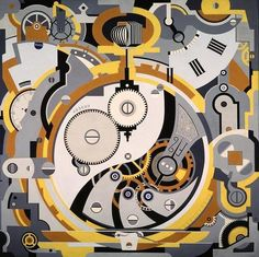 """""""Watch"""", Oil on Canvas, Size: 78 X 78 inch., [Dallas Museum of Art, Usa] - Painting and IllustrationArt by Gerald Murphy (b. 1888 - d. Harlem Renaissance, Dallas Museums, Art Moderne, Skagen, Illustrations, American Artists, Oeuvre D'art, Artsy Fartsy, Art Museum"""