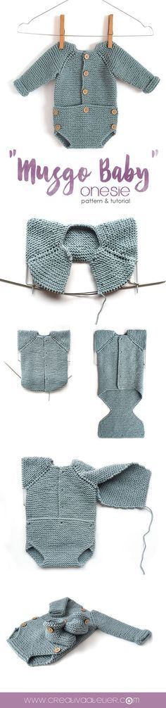 """Pelele de punto """"Musgo Baby"""" -Patrón y tutorial Knitted Baby Onesie"""