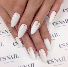 White and Gold Almond Nails