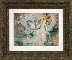 Nymph Robed in White with Floral Garlands, watercolor and gouache - Elisabeth Sonrel