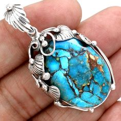 Copper-Blue-Arizona-Turquoise-925-Sterling-Silver-Pendant-Jewelry-SP131508