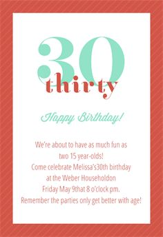 Classic 30th Birthday printable invitation template. Customize, add text and photos.  Print, download, send online or order printed!