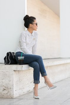 Casual Dots :: Silk blouse Silver details : Wendy's Lookbook