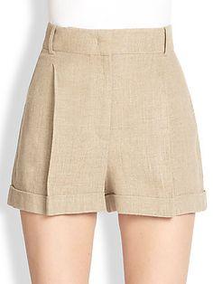 Michael Kors Pleated Linen Shorts