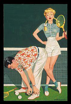 網球場的路上。to the tennis court: 網球插畫 - Ball Please?
