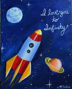 Kids Room Rocket Ship Art 11x14 Original Acrylic by FairyDawn, $65.00