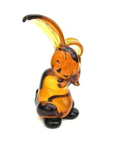 Amber Glass Bunny Rabbit Paperweight Figurine by worldvintage