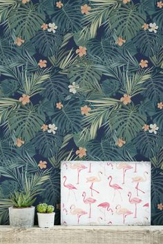 It's hard not to fall in love with this charming tropical wallpaper design…