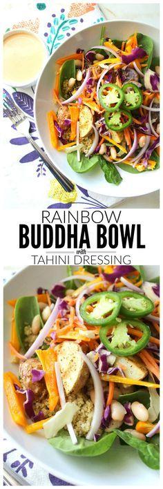 Rainbow Buddha Bowl with Tahini Dressing | VEGAN + GF | ThisSavoryVegan.com