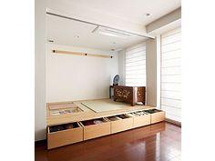 和室 小上がりにした場合の収納 やはり天井までの引き戸だと広く感じてよい!