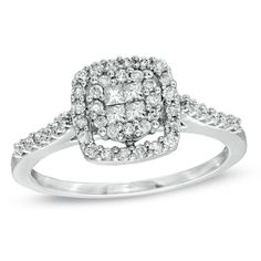 1/2 CT. T.W. Princess-Cut Quad Diamond Frame Ring in 10K White Gold