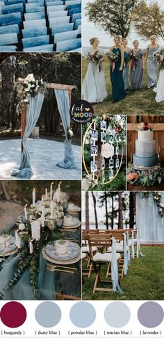 Dusty blue Wedding Color Theme with subtle hints of Burgundy + Lavender Blue Wedding Colour Theme, Fall Wedding Colors, Wedding Summer, Baby Blue Wedding Theme, September Wedding Colors, Summer Weddings, Autumn Wedding, Wedding Reception, Sky Blue Weddings