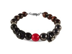 Red Tiger Eye Bracelet, Agate, Hematite, Czech Glass bead, Swarovski Crystals…