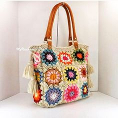 Crochet granny squares handbag with tassels and genuine leather handles, Crochet Bag, Tote Bag, Boho Style Bag, Summer Bag Mode Crochet, Crochet Tote, Crochet Handbags, Crochet Purses, Bead Crochet, Sac Granny Square, Granny Square Crochet Pattern, Crochet Granny, Granny Squares