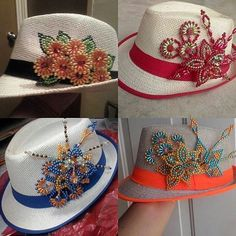 Resultado de imagen para tembleques decorados Diy And Crafts, Arts And Crafts, Hat Decoration, French Beaded Flowers, Crochet Cap, Top To Toe, Diy Hat, Beaded Animals, Beading Tutorials