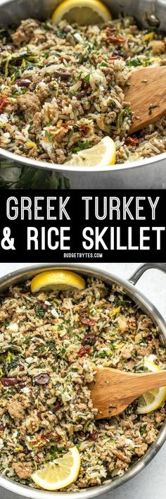 Greek Turkey and Rice Skillet - One Pot Meal - Budget Bytes : Everything cooks together in one pot for this fast and easy Greek Turkey and Rice Skillet, creating big flavor without a lot of fuss. Healthy Turkey Recipes, Healthy Ground Turkey, Rice Recipes, Chicken Recipes, Dinner Recipes, Cooking Recipes, Easy Ground Turkey Recipes, Ground Turkey Meals, Ground Turkey Casserole
