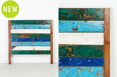 "Cahaya Headboard - Queen 02   Rustic headboard made from panels of reclaimed fishing boat wood   L63"" x D3.25"" x H63"" #rustic #queenheadboard #bedroom #boatwood #teak #colour"