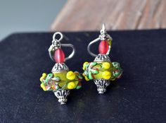 Lampwork Glass Earrings Raised Flowers Lampwork by LKArtChic