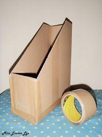 Miss Emma Lys: DIY range-documents Cardboard Furniture, Cardboard Crafts, Paper Storage, Craft Storage, Diy Organisation, Storage Organization, Diy Magazine Holder, Magazine Rack, Range Document