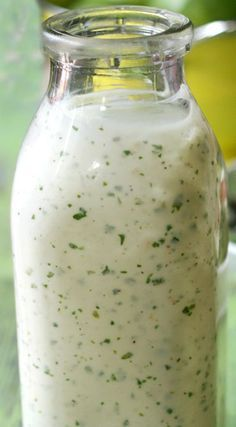 Homemade Cilantro Lime Ranch Dressing ~ Super easy, delicious, fresh salad dressing.