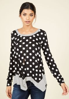 Oh Happy Playday Polka Dot Top. Hello weekend, it's been too long. #black #modcloth