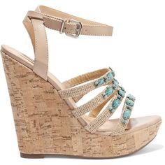 Schutz Embellished leather espadrille wedge sandals (205 AUD) ❤ liked on Polyvore featuring shoes, sandals, sand, ankle strap high heel sandals, platform espadrilles, espadrille wedge sandals, high heel sandals and wedge espadrilles