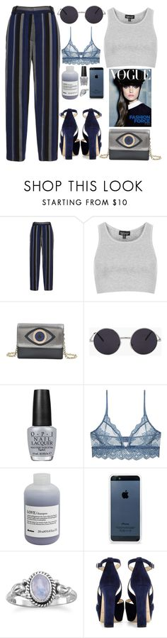 """308. Blue Eyes"" by ass-sass-in ❤ liked on Polyvore featuring Proenza Schouler, Topshop, Diane Von Furstenberg, OPI, Only Hearts, Davines, BlissfulCASE and Jimmy Choo"