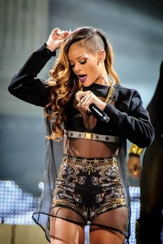 Rihanna in a Custom Givenchy by Riccardo Tisci outfit for her 2013 Diamonds World Tour